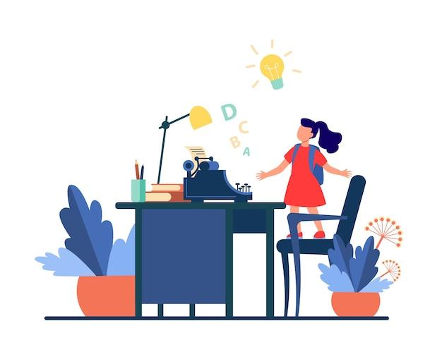 Mała dziewczynka z pomysłem patrząc na maszynie do pisania. krzesło, biurko, ilustracja wektorowa płaskie historia. wyobraźnia i pisanie