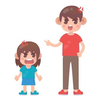Mała dziewczynka złości się na tatę premium wektorów