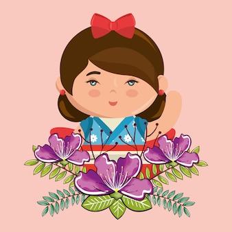 Mała japońska dziewczyna kawaii z kwiatami