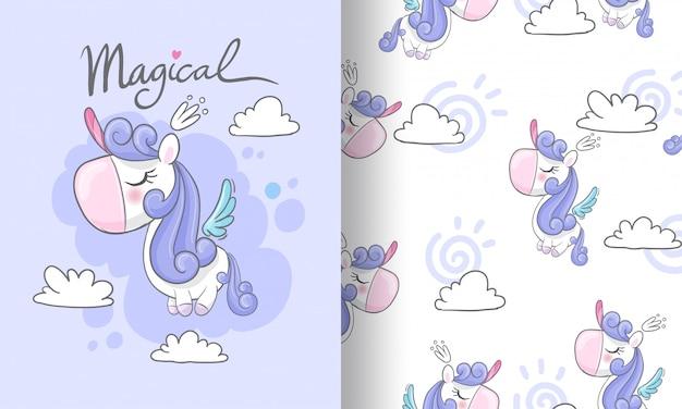 Mała jednorożec na niebo bezszwowej deseniowej ilustraci dla dzieciaków