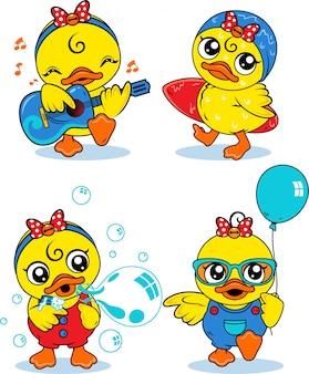Mała kaczka zestaw ilustracji