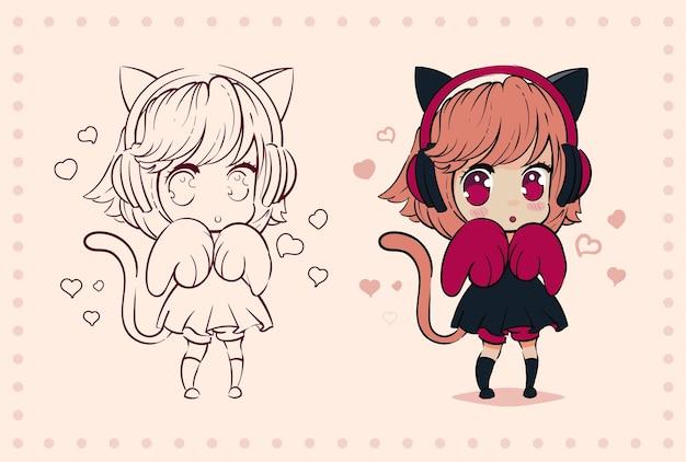 Mała kawaii anime dziewczyna z kocimi uszami i łapami