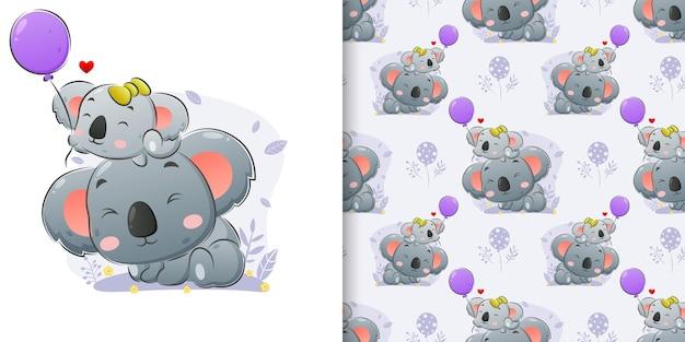 Mała koala i duża koala trzymają kolorowe balony w zestawie ilustracji