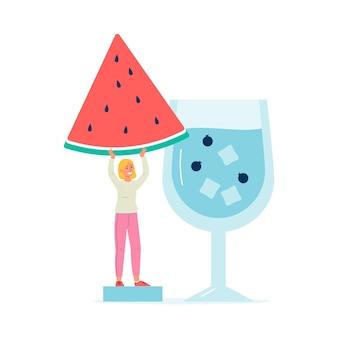 Mała kobieta kreskówka przygotowuje koktajl owocowy lub napój, mieszkanie na białym tle. ładna dziewczyna przy drinku z arbuza.