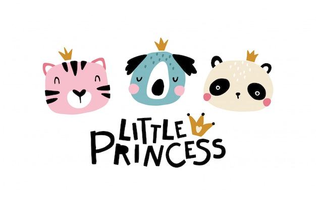 Mała księżniczka tygrys, koala i panda. śliczna twarz zwierzęcia z napisem. dziecinna kartka z życzeniami dla przedszkola w stylu skandynawskim. na imprezę. ilustracja kreskówka w pastelowych kolorach.