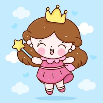 Mała księżniczka wróżka dziewczyna kreskówka trzymająca gwiazdę magiczną różdżkę kawaii charakter
