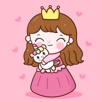 Mała księżniczka wróżka przytulić kreskówka jednorożec urocza przyjaźń kawaii charakter