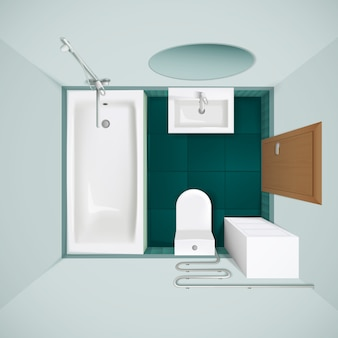 Mała łazienka z zieloną podłogą wanna toaleta