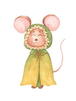 Mała myszka w zielonym płaszczu z kapturem. akwarele ręcznie rysować ilustracja.