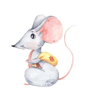 Mała myszka z małą żółtą torbą, symbol zodiaku nowego roku. chiński tłumaczy good luck. akwarela ilustracja.