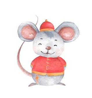Mała Myszka Z Tradycyjnym Chińskim Strojem, Symbol Zodiaku Nowego Roku. Akwarela Ilustracja. Premium Wektorów