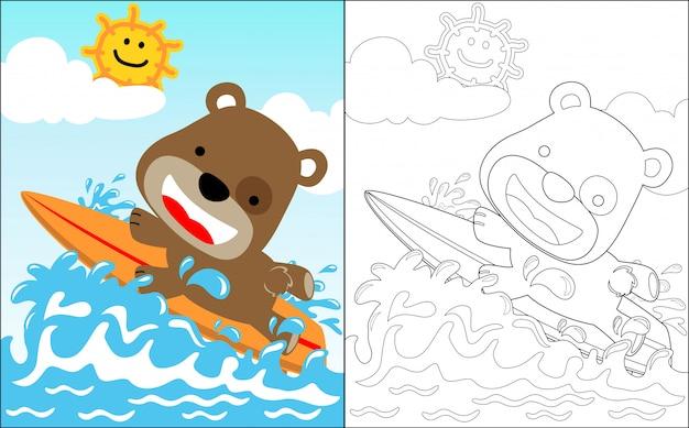 Mała niedźwiadkowa kreskówka śmieszny surfingowiec