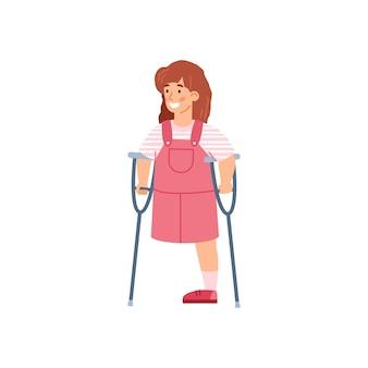 Mała niepełnosprawna dziewczynka o kulach kreskówka wektor ilustracja na białym tle