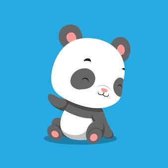 Mała panda z radosną buźką siedzi na jednolitym tle