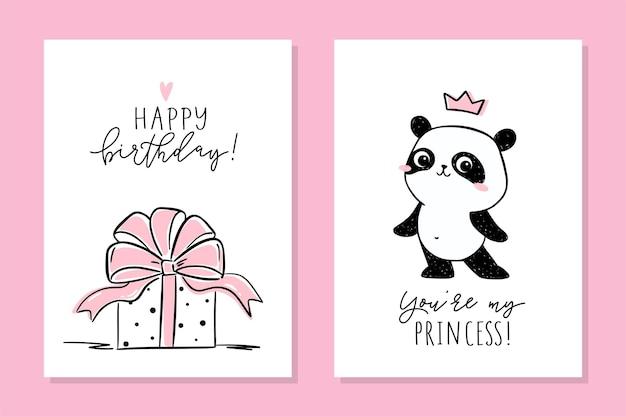 Mała panda zestaw kart. urocza panda i prezent urodzinowy z dużą różową kokardką.