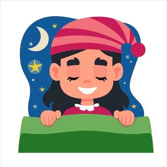 Mała piękna brunetka dziewczynka w różowej piżamie śpi w swoim łóżku i widzi sen. chmura z gwiazdami i księżycem nad głową dziecka. ilustracja wektorowa w zabawie w stylu kreskówki