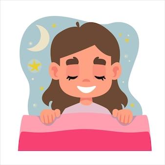 Mała piękna dziewczynka rgba śpi w swoim różowym łóżku i ma sen chmura z gwiazdami