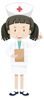 Mała pielęgniarka w jednolitej postaci z kreskówek