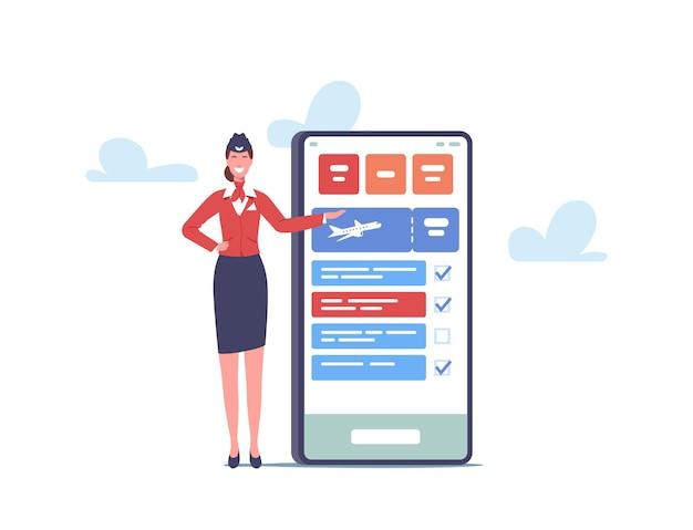 Mała postać stewardessy w pobliżu ogromnego smartfona