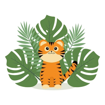 Mała postać tygrysa siedzi na tropikalnych liściach, kolorowa ilustracja wektorowa w stylu kreskówki