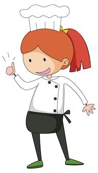 Mała postać z kreskówki szefa kuchni na białym tle