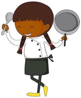 Mała postać z kreskówki szefa kuchni w stylu doodle na białym tle