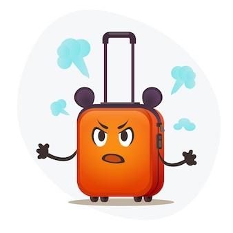 Mała rączka plastikowa pomarańczowa walizka chłopiec angry emotion