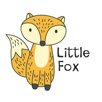 Mała ręka rysująca lisica dla t koszula