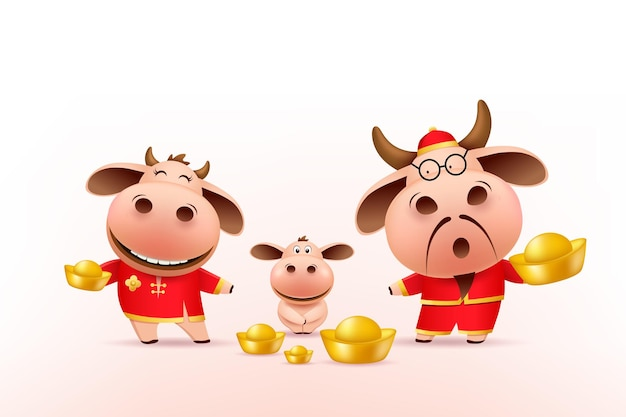 Mała rodzina wół trzymająca chińską złotą, czerwoną suknię cheongsam.