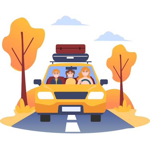 Mała rodzina wyrusza w podróż, korzystając z własnego samochodu