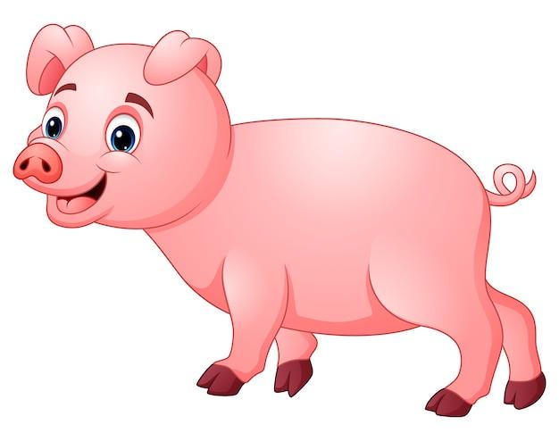 Mała różowa świnia idzie