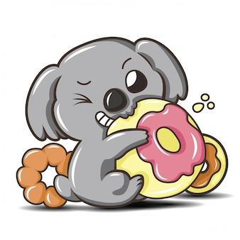 Mała śliczna coala kreskówka, zwierzęca kreskówka.