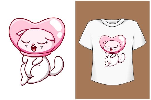 Mała śliczna I Szczęśliwa Ilustracja Kreskówka Kot Premium Wektorów