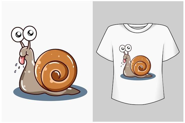 Mała śliczna ślimak ilustracja kreskówka