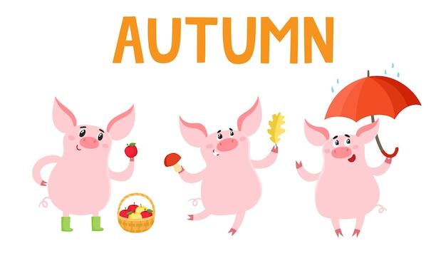 Mała świnka różne emocje i sytuacje na białym tle. wektor zestaw uroczych zwierzątek w sezonie jesiennym używany do plakatu, karty z pozdrowieniami, książki i banera.