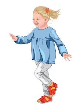 Mała szczęśliwa dziewczyna w niebieskiej bluzce, białych dżinsach i kolorowych butach. blond włosy z czerwoną gumką