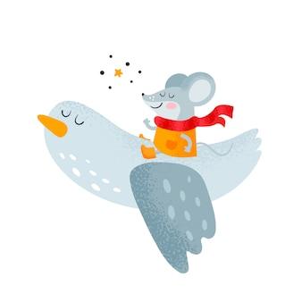 Mała szczęśliwa mysz i ptak