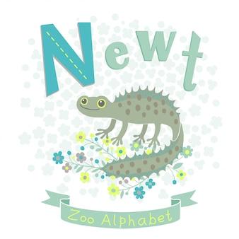 Mała traszka w stylu kreskówek dla dziecka alfabetu. litera n
