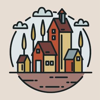 Mała wioska, ranczo lub ekologiczne budynki gospodarcze narysowane w nowoczesnym stylu graficznym
