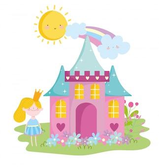 Mała wróżka księżniczka z koroną zamku kwiaty tęczowa opowieść kreskówka