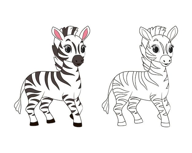 Mała zabawna kolorowanka zebry dla dzieci. ilustracja wektorowa w stylu kreskówki, na białym tle grafik