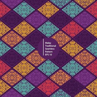 Malajski kolorowy tradycyjny bezszwowy deseniowy tło