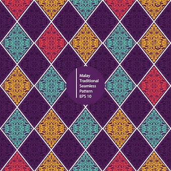 Malajskiego kolorowego rocznika bezszwowy deseniowy tło