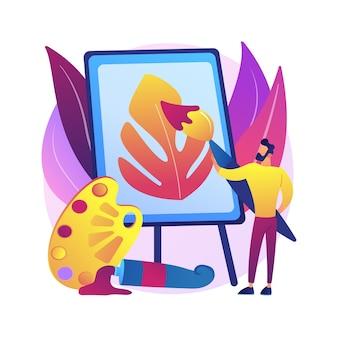 Malarstwo abstrakcyjna ilustracja koncepcja. amatorski domowy kurs malarza, nauka rysowania, rozwijanie kreatywności, ćwiczenia arteterapii, lekcja szkicowania online dla dzieci.