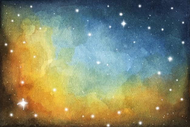 Malarstwo abstrakcyjne galaktyki. kosmiczna tekstura z gwiazdami. nocne niebo. akwarela kolorowe tło mgławicy galaktyki gwiaździstej przestrzeni.