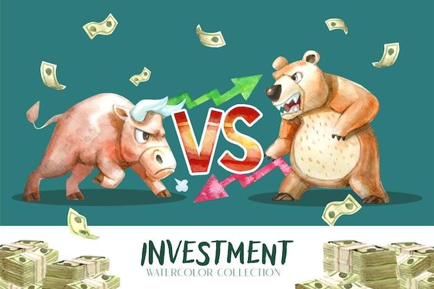 Malarstwo akwarelowe, kolekcja byk kontra niedźwiedź, która jest przypowieścią o trendzie inwestycyjnym.