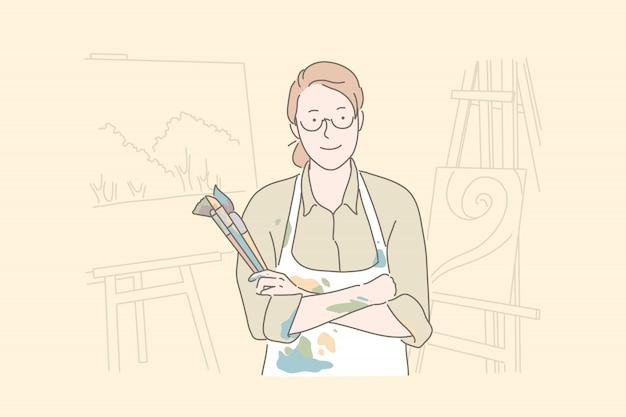 Malarstwo hobby, studio sztuki, koncepcja warsztatu