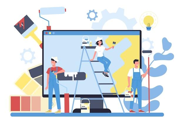 Malarz, dekorator, serwis lub platforma online