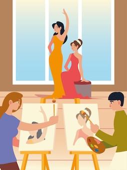 Malarz kobieta i mężczyzna w studio z płótna i pędzla z modelkami kobiet, klasa farby