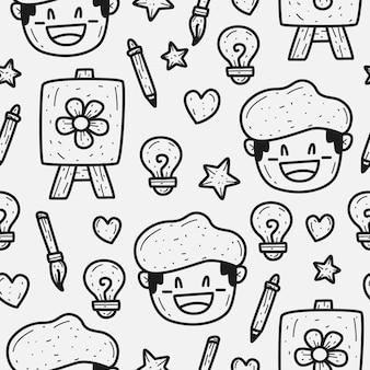 Malarz kreskówka doodle wzór